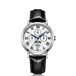 Rotary - Men's black 'Windsor' leather strap watch