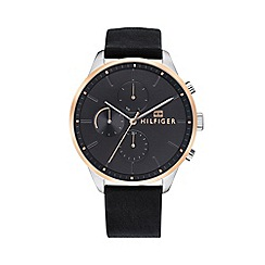 Tommy Hilfiger - Men's black 'Chase' analogue leather strap watch 1791488