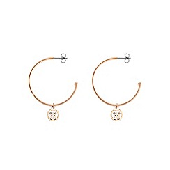 Tommy Hilfiger - Rose gold 'Classic Signature' hoop earrings