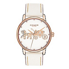 Coach - Ladies white 'Grand' analogue leather strap watch