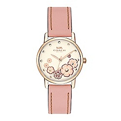 Coach - Ladies pink 'Grand' analogue leather strap watch