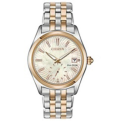 Citizen - Ladies silver and rose gold 'Eco-Drive' analogue bracelet watch EV1036-51Y