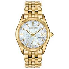 Citizen - Ladies gold 'Eco-Drive' analogue bracelet watch EV1032-51D