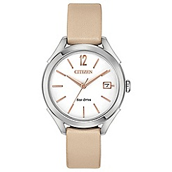 Citizen - Ladies cream 'Eco-Drive' analogue leather strap watch FE6140-03A