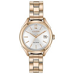 Citizen - Ladies rose gold 'Eco-Drive' analogue bracelet watch FE6143-56A