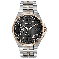 Citizen - Men's silver and rose gold 'Eco-Drive' radio controlled bracelet watch CB0166-54H