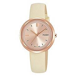 Pulsar - Ladies cream analogue leather strap watch PH8394X1