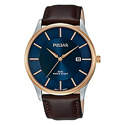 Pulsar - Men's brown analogue leather strap watch PS9546X1