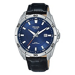 Pulsar - Men's black analogue leather strap watch PX3155X1