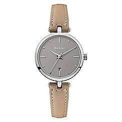 Barbour - Ladies beige 'QA' analogue leather strap watch BB071SLBG