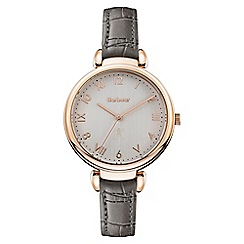 Barbour - Ladies grey 'QA' analogue leather strap watch BB078RSGY