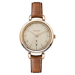 Barbour - Ladies brown 'QA' analogue leather strap watch BB078RSBR