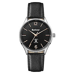 Barbour - Men's black 'QA' analogue leather strap watch BB079SLBK