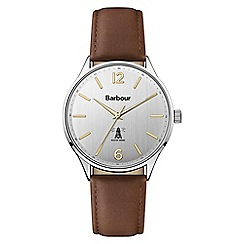Barbour - Men's brown 'QA' analogue leather strap watch BB079SLBR