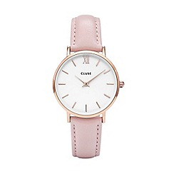 Cluse - Ladies pink 'Minuit' analogue leather strap watch CL30001