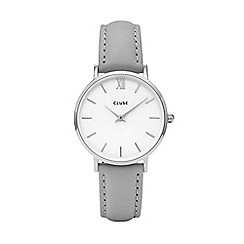 Cluse - Ladies grey 'Minuit' analogue leather strap watch CL30006
