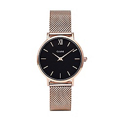 Cluse - Ladies rose gold 'Minuit' analogue bracelet watch CL30016