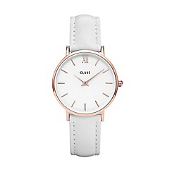 Cluse - Ladies white 'Minuit' analogue leather strap watch CL30056