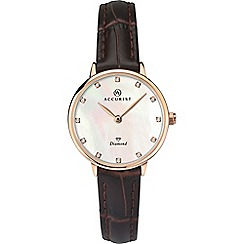 Accurist - Ladies brown analogue leather strap watch 8210