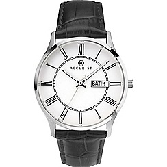 Accurist - Men's black analogue leather strap watch 7236