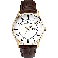 Accurist - Men's brown analogue leather strap watch 7237
