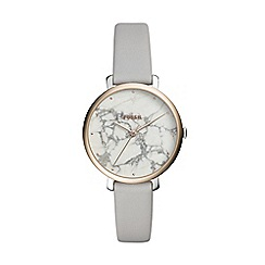 Fossil - Ladies grey 'Jacqueline' analogue leather strap watch ES4377