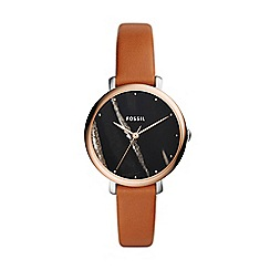 Fossil - Ladies brown 'Jacqueline' analogue leather strap watch ES4378