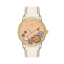 Coach - Ladies white 'Grand' analogue leather strap watch 14503008