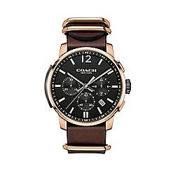 Coach - Men's brown 'Bleecker' chronograph leather strap watch 14602019