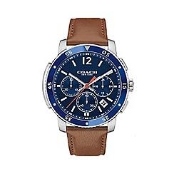 Coach - Men's brown 'Bleecker' chronograph leather strap watch 14602027