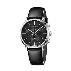 Calvin Klein - Men's black 'Posh' chronograph leather strap watch K8Q371C1