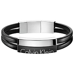 Calvin Klein - Black 'Boost' leather strap bracelet