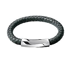 Calvin Klein - Dark grey 'Bewilder' leather bracelet