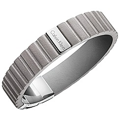 Calvin Klein - Grey 'Plate' leather strap bracelet