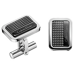Calvin Klein - Silver and black 'Confidence' cufflinks