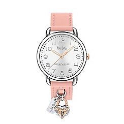 Coach - Ladies pink 'Delancey' analogue leather strap watch 610113007