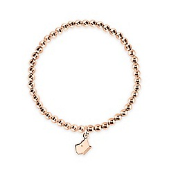 Radley - Rose Gold Beaded Bracelet with Dog Head Charm