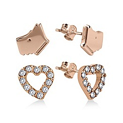 Radley - Set of 2 Rose Gold Heart and Dog Head Stud Earrings