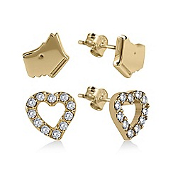 Radley - Set of 2 Gold Plated Heart and Dog Head Stud Earrings