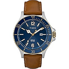 Timex - Men's Brown 'Harbourside' Analogue Leather Strap Watch TW2R64500
