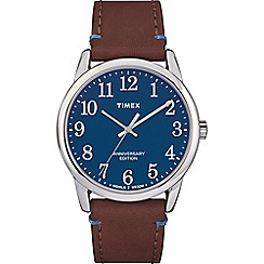 Timex - Men's Brown 'Easy Reader' Analogue Leather Strap Watch TW2R36000