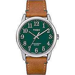 Timex - Men's Brown 'Easy Reader' Analogue Leather Strap Watch TW2R35900
