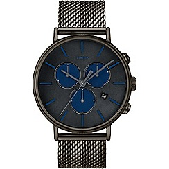 Timex - Men's Black 'Fairfield Supernova' Chronograph Leather Strap Watch TW2R98000