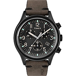 Timex - Men's Brown 'MK1' Chronograph Leather Strap Watch TW2R96500