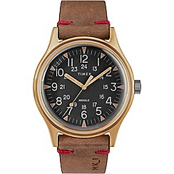 Timex - Men's Brown 'MK1' Analogue Leather Strap Watch TW2R96700