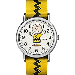 Timex - Men's Yellow 'Charlie Brown' Analogue Fabric Strap Watch TW2R41100