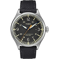Timex - Men's Black 'Waterbury' Analogue Fabric Strap Contactless Watch TW3FC8150