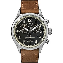 Timex - Men's Brown Chronograph Leather Strap Contactless Watch TWF3C8230