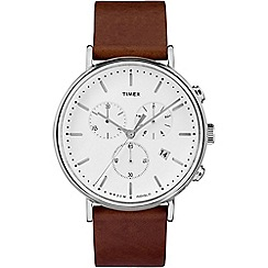 Timex - Unisex Brown 'Fairfield' Chronograph Leather Strap Contactless Watch TW2R85100