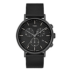 Timex - Unisex Black 'Fairfield' Chronograph Leather Strap Contactless Watch TW2T11300